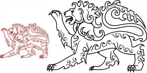 דף צביעה דרקון אריה