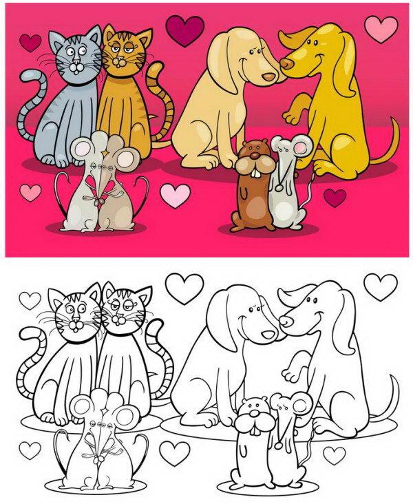 חתולים, כלבים ועכבים מאוהבים