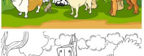 צביעה של כלבים חמודים יחדיו
