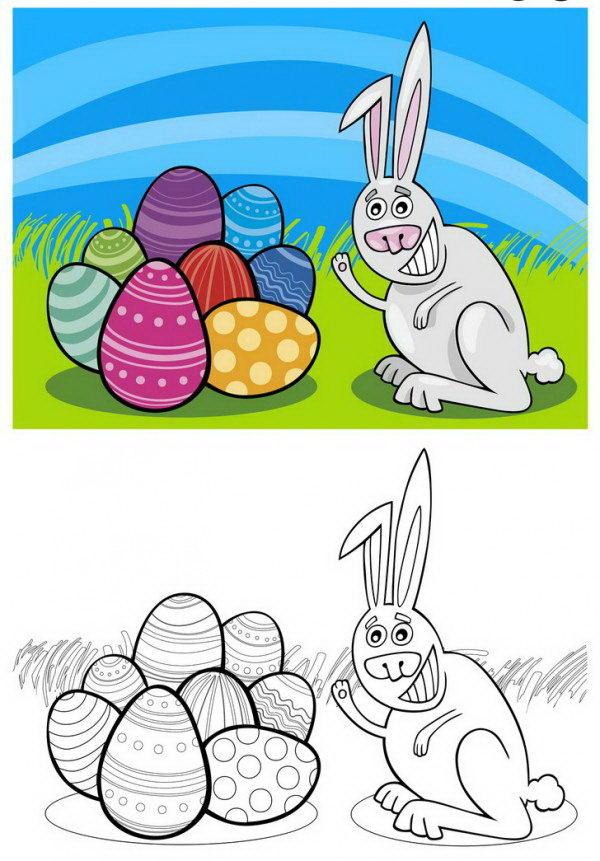 ארנב חייכן עם ביצי חג פסחא