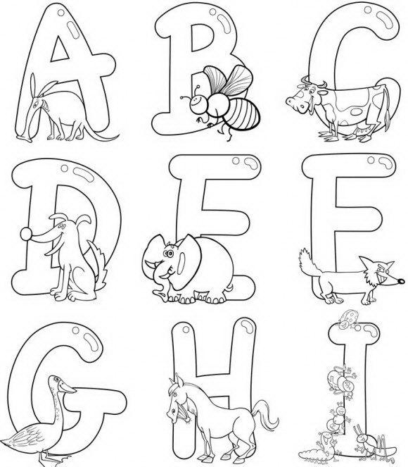 לצביעה ולמידה, דפי צביעה עם אותיות באנגלית אותן ניתן לצבוע עם החיות האהובות.