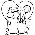 עכבר וסמור חמודים עם לב ענקי
