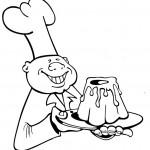 טבח מקסים עם עוגה