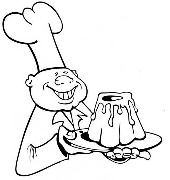 דפי צביעה אוכל מקסימים של טבח שמחזיק עוגה מרהיבה בידו אותה תוכלו לצבוע בהנאה.