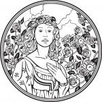 נסיכה מדהימה מוקפת פרחים
