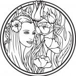 פייה יפיפייה המוקפת פרחים