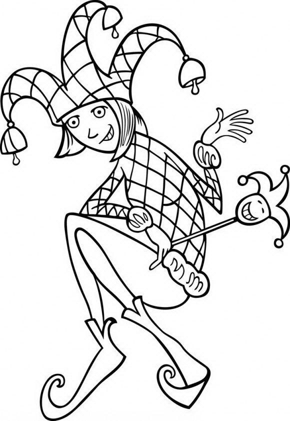 בואו לצבוע בהנאה ליצן עם כובע של ג'וקר עם פעמונים מרהיבים ושלל דפי ציור להורדה לחג פורים.