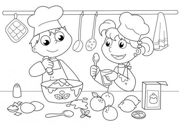 בואו לצבוע דפי צביעה לחנוכה של ילדים מקסימים שעסוקים בהכנת סופגניות.