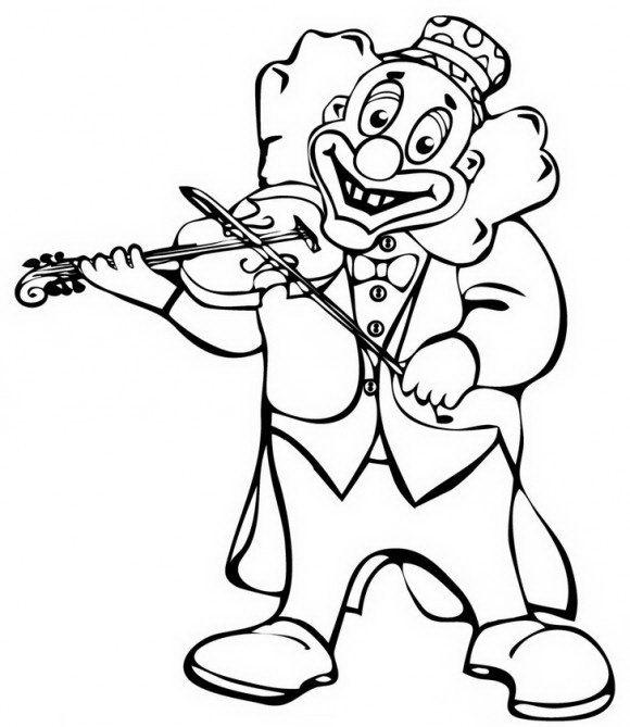 ליצן חייכן לצביעה חג פורים עם כינור בידו בו הוא מנגן בהנאה.
