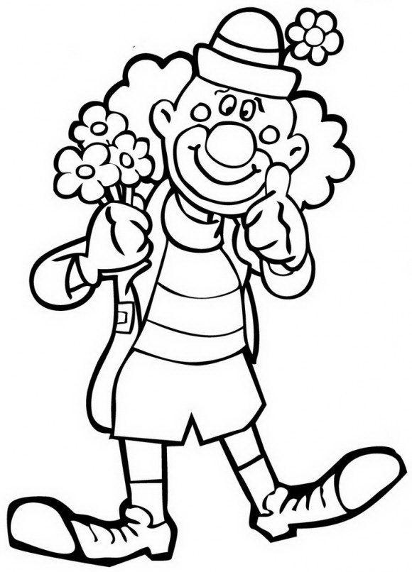 לצבוע בהאה דפי צביע לפורים של ליצן מקסים המחזיק שלל פרחים אותם תוכלו לצבוע בהנאה.