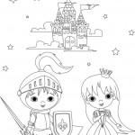 נסיך ונסיכה על רקע טירה קסומה
