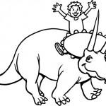 דינוזאור חייכן וילד רוכב עליו
