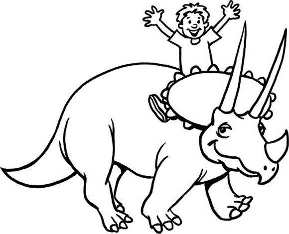 ציורים לילדים מקסימים של דינוזאור חברותי וחייכן שעליו רוכב בשמחה רבה ילד אותם תצבעו בכיף.