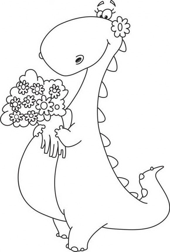 דפי צביעה לילדים של דינוזאור חמוד וביישן שמחזיק בידו זר ענקי של פרחים אותם תוכלו לצבוע בהנאה.
