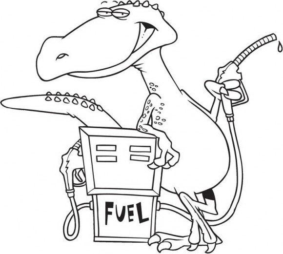 צביעה מהנה של דינוזאור חמוד ומקסים שעומדת בתחנת דלק ומתדלק להנאתו ועוד המון דפי צביעה דינוזאורים.