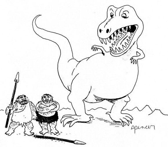 ציורים לילדים של דינוזאור אימתני המאיים על חיי שני אנשי אדם קדמון אותם תצבעו בהנאה.