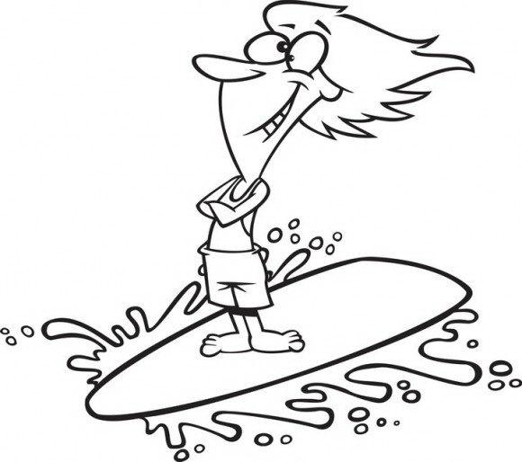 דפי צביעה להדפסה במיוחד עבור הקיץ של אדם הגולש לו להנאתו על גלי הים בעזרת גלשן.
