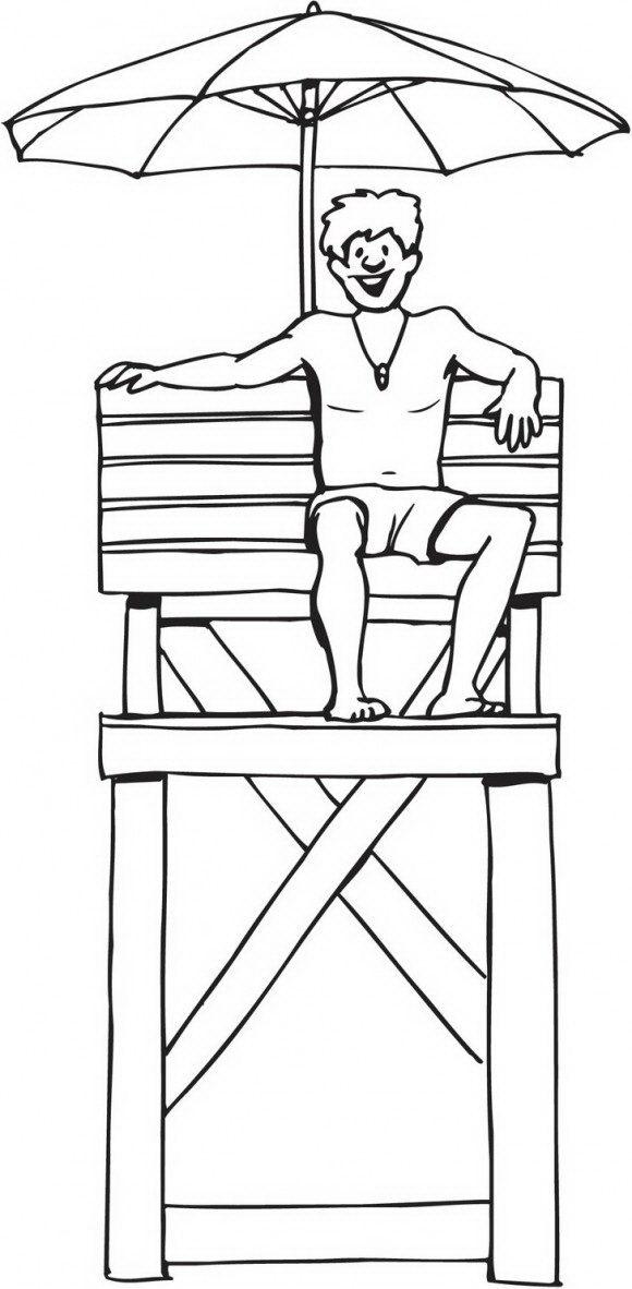 דפי צביעה לקיץ של מציל שיושב בים ומחכה לעזור לרוחצים אותן תוכלו לצבוע בהנאה.