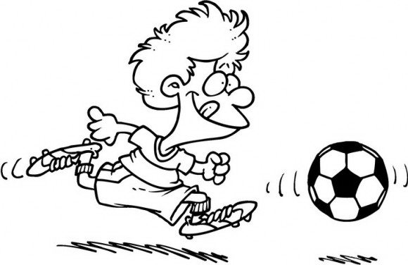 דפי צביעה כדורגל במגוון רחב עם ילד מקסים שמוכן לבעוט בכדור אל השער אותו תוכלו לצבוע בכיף.