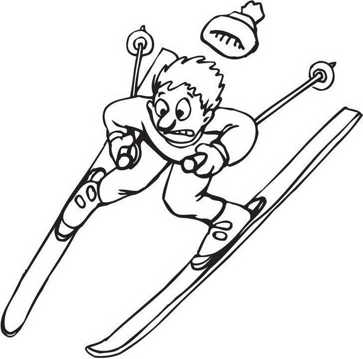 מגוון דפי צביעה לחורף אותם תוכלו לצבוע בשמחה של אדם שעושה לו סקי בהרים מושלגים.
