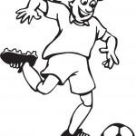 שחקן כדורגל בועט בכדור לשער