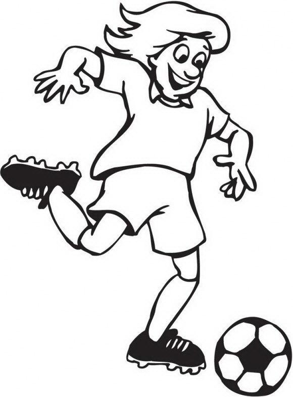 מגוון רחב של דפי צביעה כדורגל עם שחקן כדורגל מרשים שבועט כעדור אל עבר השער.