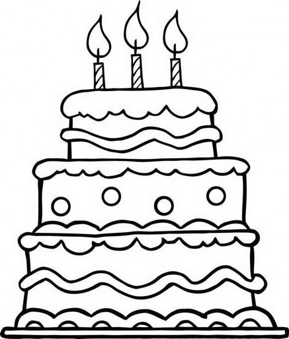 מגוון רחב של דפי צביעה ליום הולדת עם עוגה ענקית ומרהיבה שעושה חשק לאכול אותה.