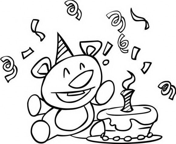 מדוון דפי צביעה להורדה עם ציורים לילדים של דובון חמוד שחוגג יום הולדת עם עוגה.