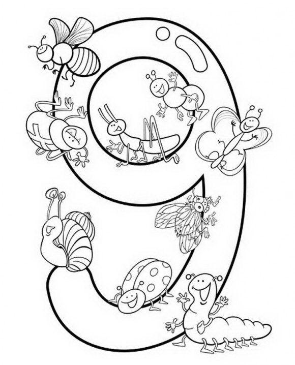 דפי עבודה חלילדים עם ספרות ואותיות ללמידה מהנה עם הספרה תשע לצביעה.