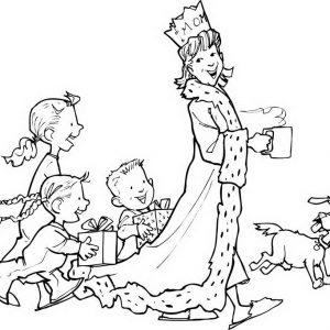 ציור של המלכה והנסיכים דף צביעה