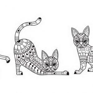 דף צביעה מנדלות חתולים