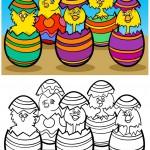 אפרוחים בתוך ביצי חג פסחא