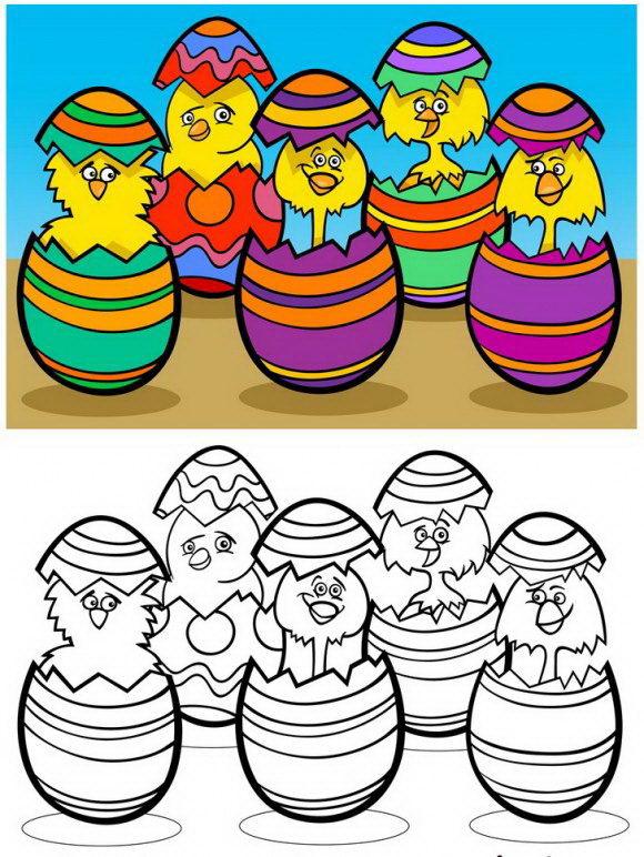 מגוון רחב של דפי צביעה לחגים עם אפרחים בתוך ביצי חג הפסחא המקושטים עם הסבר כיצד לצבוע בקלות.