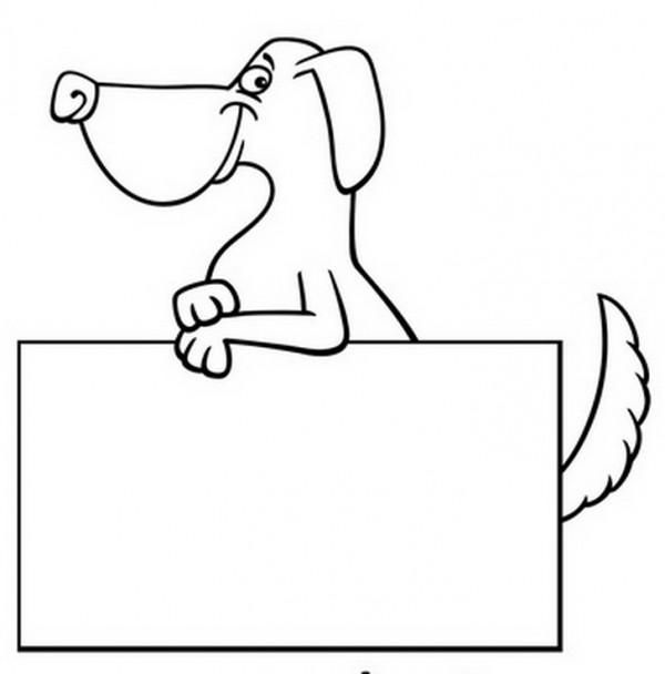 דף צביעה של כלב מחייך