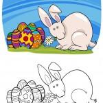 ארנב על דשא עם ביצי חג פסחא