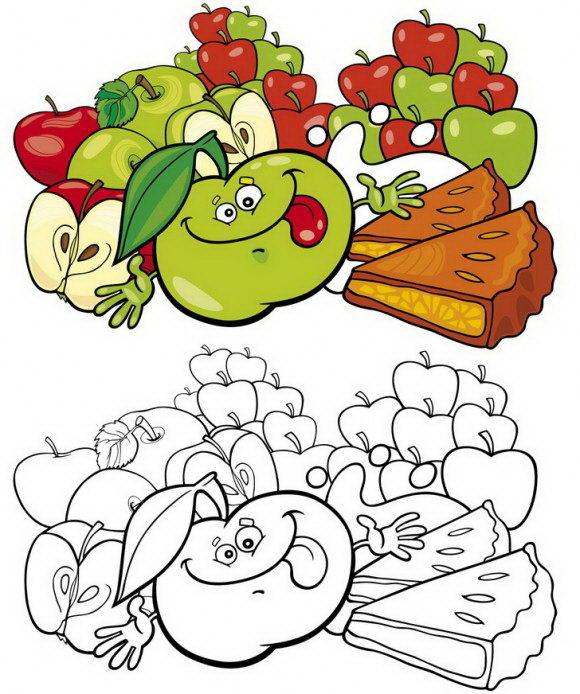 דפי צביעה אוכל של תפוחים עסיסיים מכל הסוגים הכוללים הסבר מדוייק כיצד לצבוע בקלות.