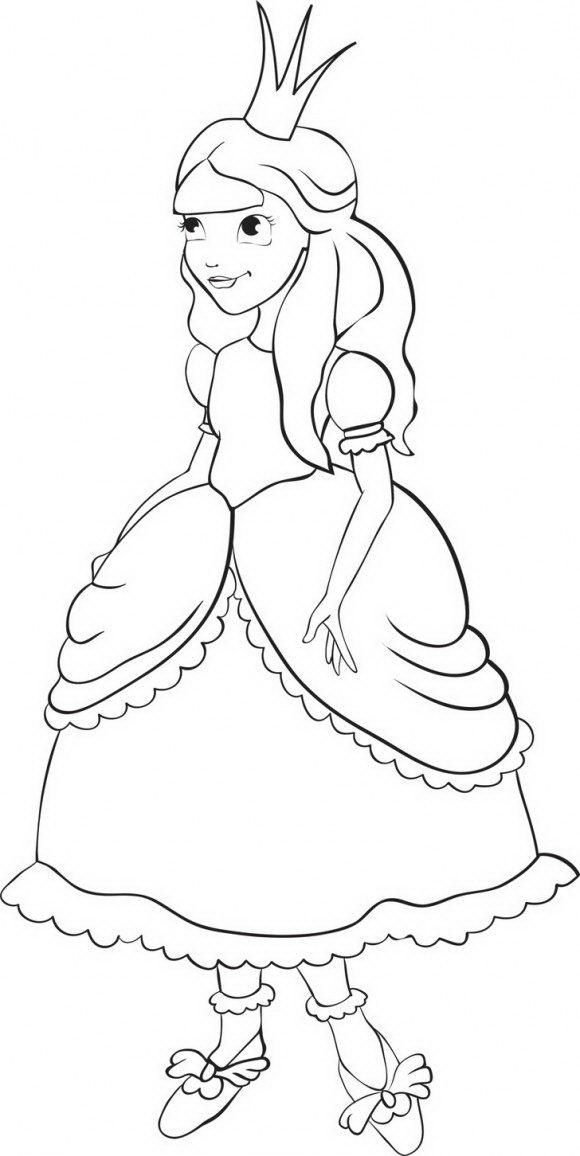 נסיכה עדינה ויפה ממש כבלרינה מלכותית, דפי צביעה נסיכות מקסימות שאותן ניתן לצבוע בשלל צבעי הקשת.