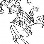 תמונה של ליצן לצביעה עם כובע פעמוני ג'וקר
