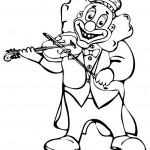 ליצן חייכן עם מנגן בכינור