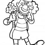דף צביעה ליצן עם שלל פרחים