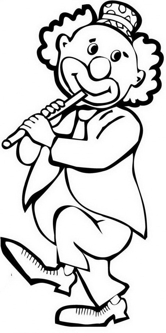 ציורים לילדים  של ליצן מקסים שמנגן בחליל בשמחה והנאה אותו תוכלו לצבוע בכיף.