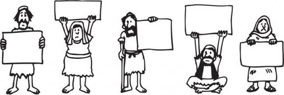 דפי צביעה להדפסה של בני ישראל עומדים עם שלטים ריקים בהם ניתן לכתוב ברכות לפסח.