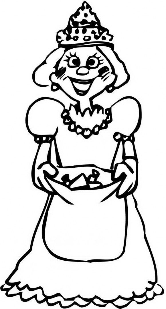 דפי צביעה לפורים מקסימים של מלכת אסתר המדהימה אוחזת בידייה משלוח מנות עבור החג.