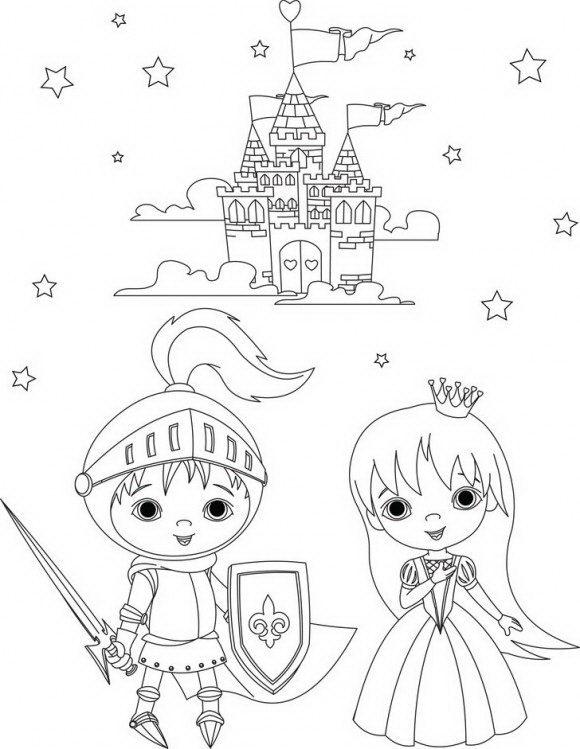 ציורים לילדים מרהיבים של נסיכות עם נסיכים וטירות קסומות לצביעה כתאוות נפשכם.