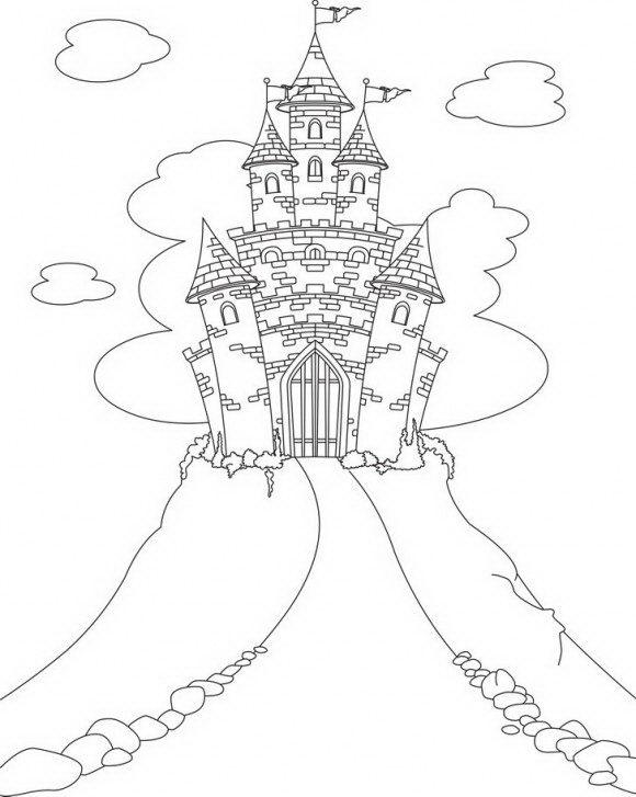 דפי צביעה לילדים של טירה קסומה, לטירה רקע מרהיב אותו תוכלו בשלל צבעי הקשת.