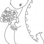 דינוזאור חמוד עם זר פרחים