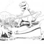 דינוזאורים אימתניים ברקע פרהיסטורי