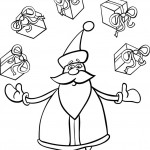 סנטה קלאוס מוקף במתנות