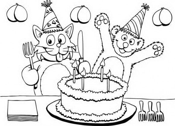 דפי צביעה יום הולדת במגוון רחב של דובי וחתול מקסימיםפ החוגגים להם יום הולדת עם עוגה.